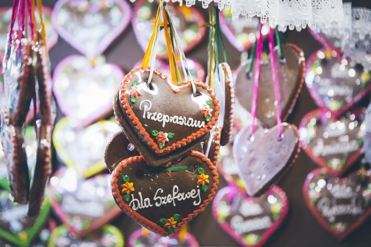 Close-Up Of Hanging Gingerbread Hearts