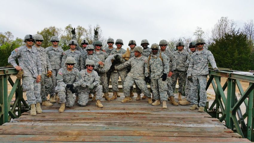 After we built a Bailey Bridge. Hanging Out Army Hooah!!! Army 12B