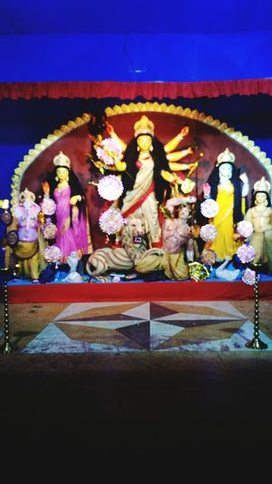 Mother With Son & Daughter In A Pandal