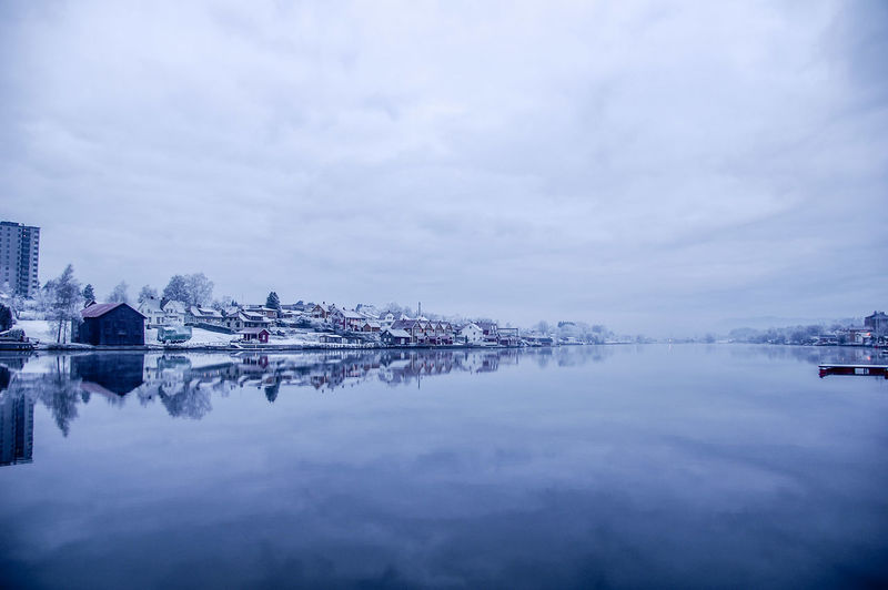 Blue Hour Outdoors Day Building Nautical Vessel Beauty In Nature No People Snow Transportation Nature Waterfront Built Structure Cloud - Sky Architecture Building Exterior Reflection Winter Cold Temperature Sky Water Scenics - Nature Tranquility Tranquil Scene Porsgrunnselva Porsgrunn City