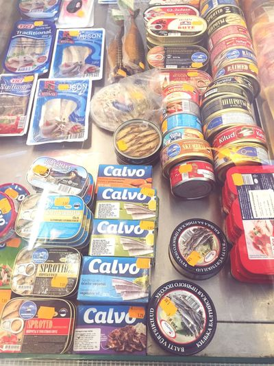 Fishcans Shoppingwindow Groceries Price Tag Estonia Oldfashioned Shop