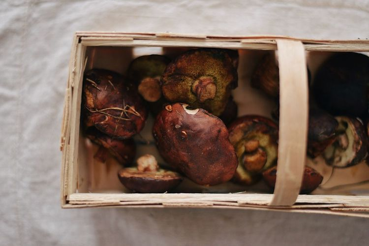Directly above shot of fruits in box on table