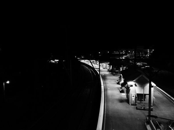 Katoomba train station at night. Night Transportation Illuminated Architecture Train Station Railway Station Railway Track Night Black And White Katoomba Australia