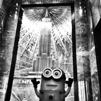 Minion Conquers Empire State Building Empirestatebuilding Igersoftheday NYC Igersusa Blackandwhite Mytravelgram NY Minion  Bw Igworldclub Iphoneonly Insta_america Iphonesia Igharjit Newyork Momentsinthesun Instamood World_shotz Newyorkcity Ig_fotogramers Bestoftheday Ig_northamerica Shotaward Mogcomm Hitamputih Minionnation Hot_shotz Minionjit Minions