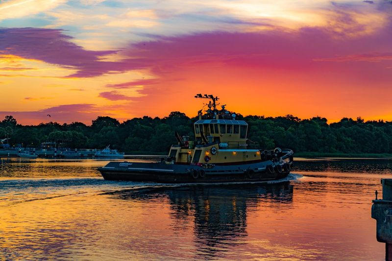A6000 Dramatic Sky Color Sky Alone On The Water Single Ship Savannah Tugboat On The River Sunrise Sunrise_Collection