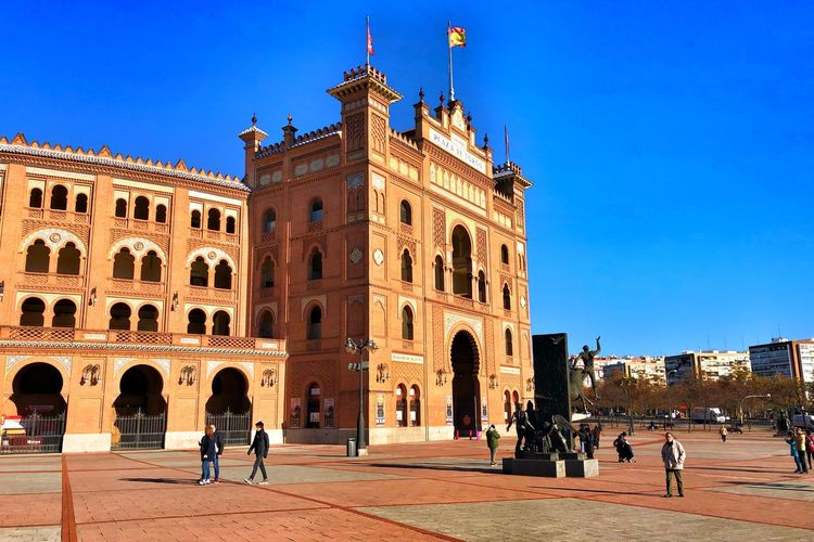 Plaza De Toros Bull Fight Architecture Building Exterior Built Structure Sky Real People Group Of People Building