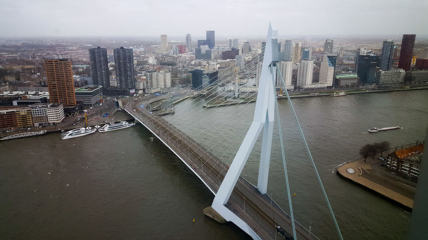 Rotterdam City Aerial View Bridge - Man Made Structure Urban Skyline Travel Destinations Skyscraper Architecture River