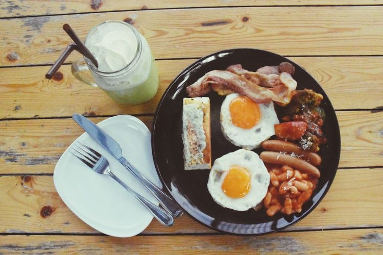Food And Drink Egg Fork Table Drink Food Fried Egg Breakfast Plate Drinking Glass Ready-to-eat Indoors  Freshness No People Wood - Material Fried English Breakfast High Angle View Healthy Eating Directly Above