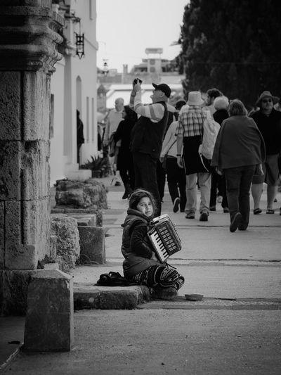 Accordeon Beggar Begging Blackandwhite Girl Greece Migrant Migration Music Rhodes Street Streetphotography Up Close Street Photography
