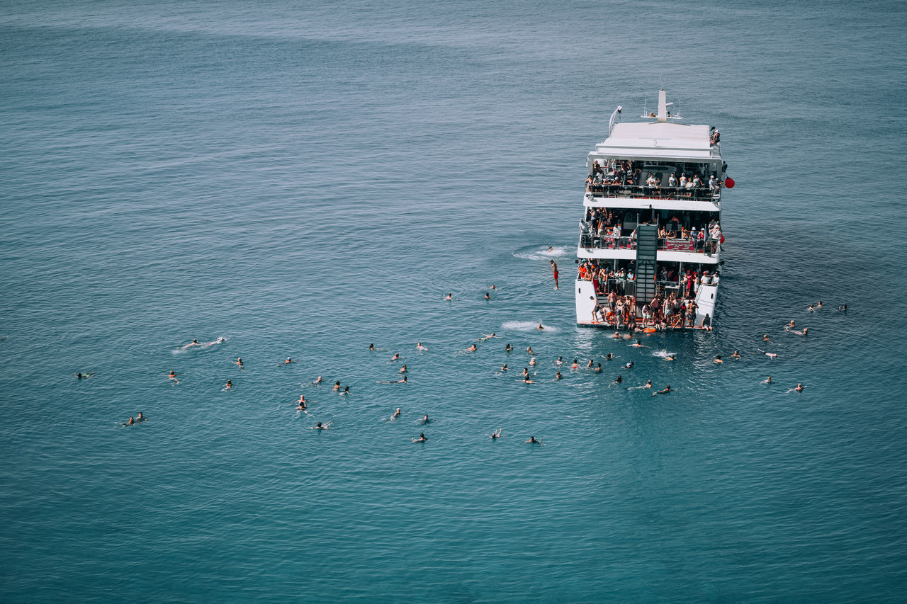 High angle view of partying on boat in sea