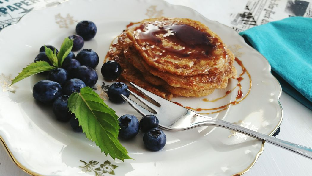 Blueberry Dessert Food And Drink Fruit Plate Sweet Food Food Freshness Indoors  Fork Close-up Homemade No People Ready-to-eat Pancakes Vegan Foodie Foodlover Vegan Food Yummy