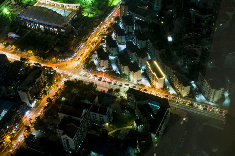 Aerial view of illuminated night