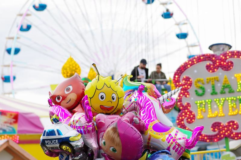 Close-up of toys in amusement park