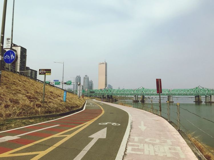 Way to 63 city building 63building Han River Bridge Sky Nature Architecture Day Built Structure Sign Direction