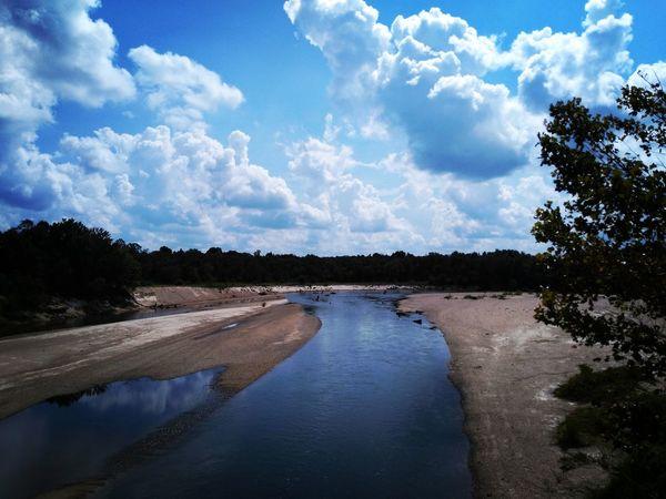 Cloud - Sky Water Sky Reflection Tree Blue Nature Outdoors Landscape No People Day Beauty In Nature Louisiana Amite River Sand Sandbar Sandbeach High Noon