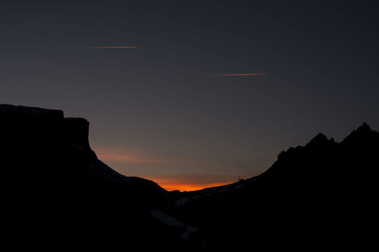 Silhouette mountain against sky during sunset