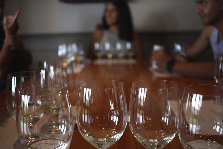 Close-up of empty wineglasses on table at restaurant