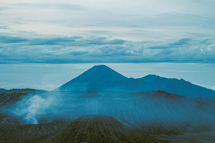 Scenic view of volcanic mountain against sky in bromo mountain east java, indonesia.