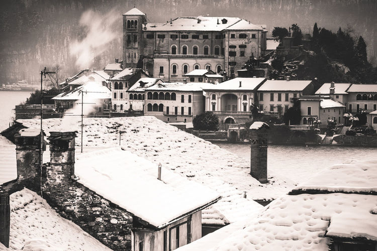 High angle view of snow covered city