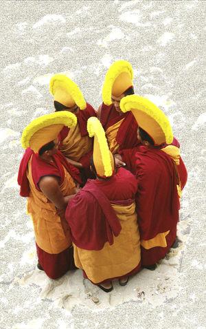 Gyuto Monks of Tibet Buddhist Day Flower Flower Head Footpath Fragility Freshness Gyuto Monks Of Tibet Karma Monks Multi Colored Person Prayer Prayer Flags  Selective Focus Vibrant Color Yellow