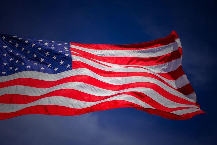 USA Flag USA FLAG Stars And Stripes Red Patriotism Flag Blue Cultures Striped Sky Close-up National Icon Wind