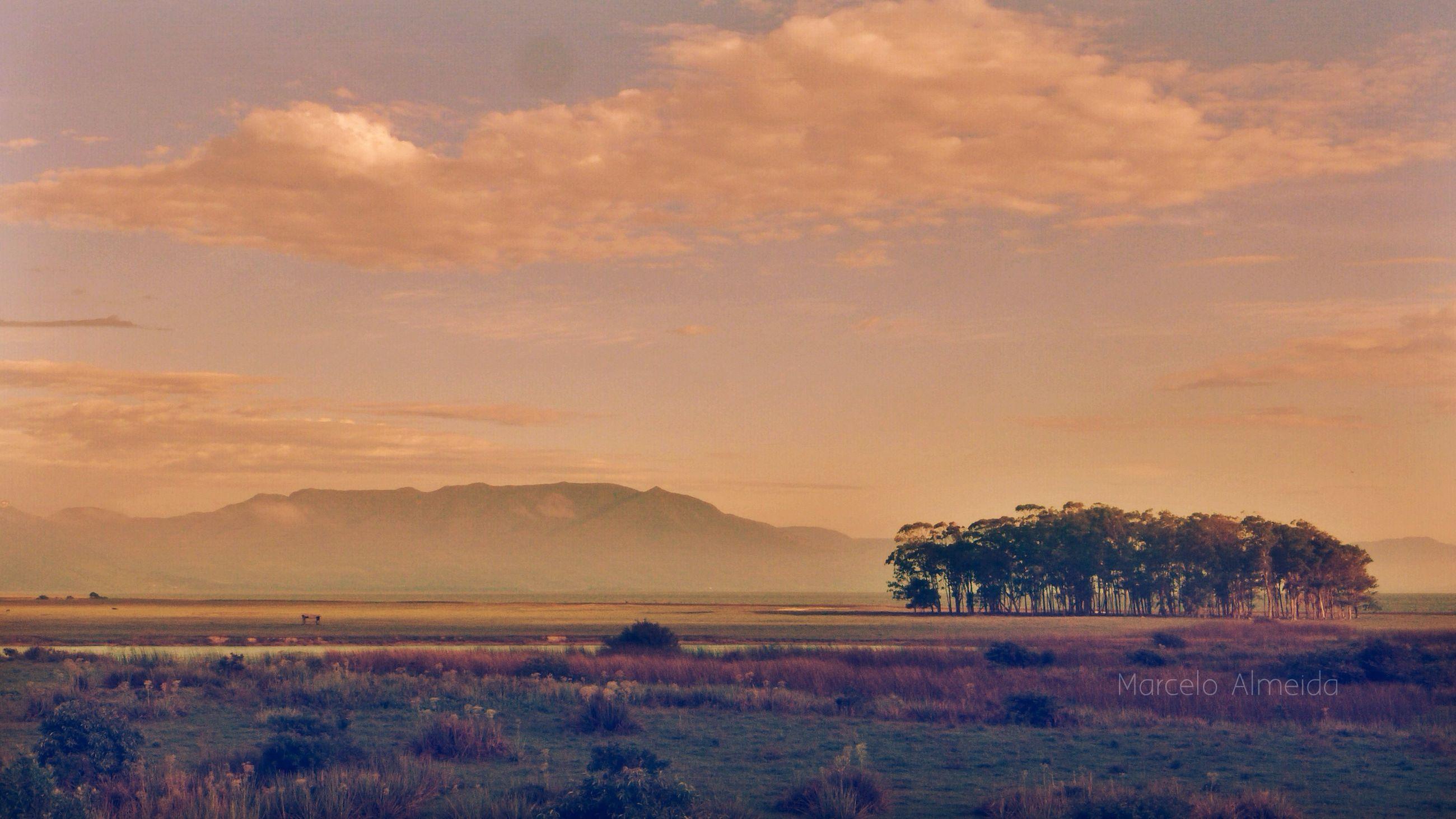 tranquil scene, tranquility, scenics, landscape, sunset, sky, beauty in nature, mountain, nature, non-urban scene, tree, idyllic, mountain range, cloud - sky, field, cloud, remote, silhouette, horizon over land, orange color