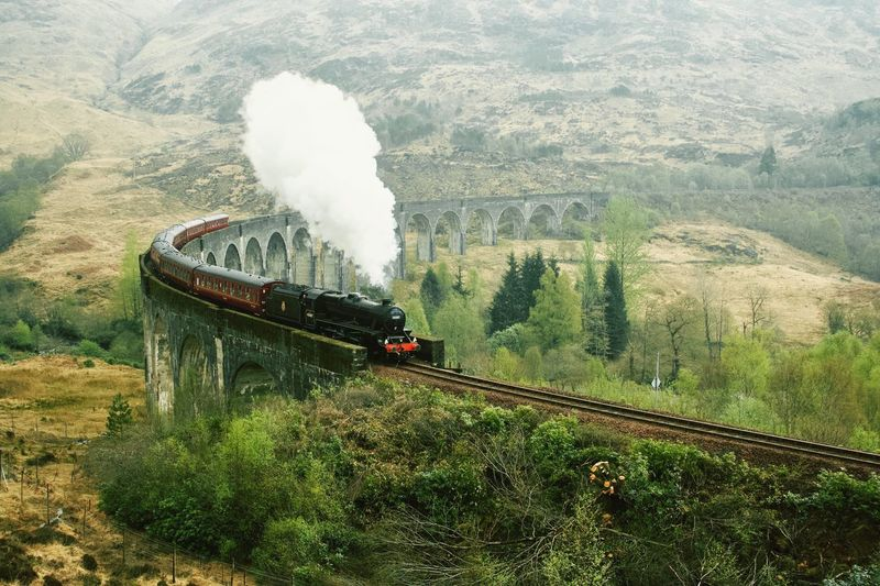 Harry Potter going to Hogwart Train Train Tracks Viaduct Locomotive Scotland 💕 Harry Potter Transportation