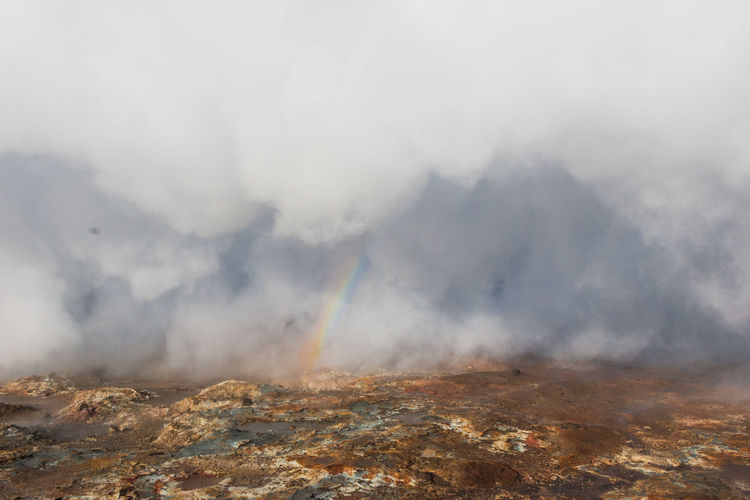 Rainbow Geothermal Fields Iceland Steam Vapor Beauty In Nature Environment Geology Geothermal Energy Heat - Temperature Landscape Nature Non-urban Scene Power In Nature Scenics - Nature Smoke - Physical Structure