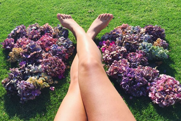 Low Section Of Woman With Legs Crossed Amidst Flower Bunch In Park