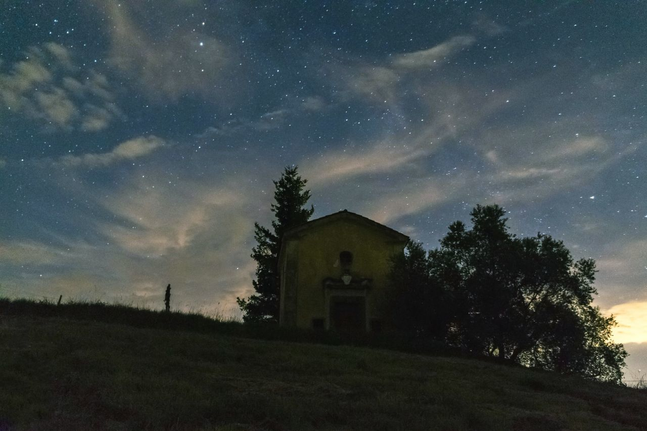 architecture, built structure, sky, tree, building exterior, house, cloud - sky, no people, tranquility, field, nature, night, outdoors, grass, star - space, beauty in nature, landscape, scenics, astronomy