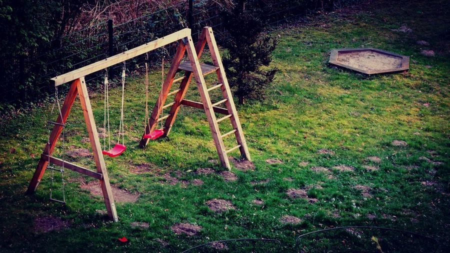 Red Children Playground Swingset From Childhood Nostalgia Childhood Playground