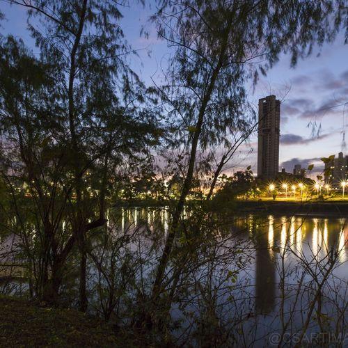 Céu Lindo  Por Do Sol Reflection Rio Itajaí-Açu Blumenau City Life Illuminated Reflexos Na Águar