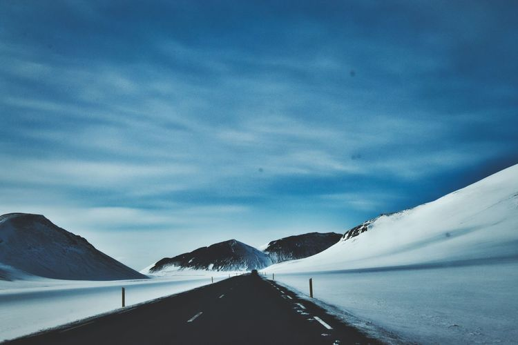Sky Cold Temperature Cloud - Sky Snow Winter Mountain Tranquil Scene Beauty In Nature Road Transportation Scenics - Nature Tranquility Nature Day No People The Way Forward Environment Direction Mountain Range Outdoors Snowcapped Mountain