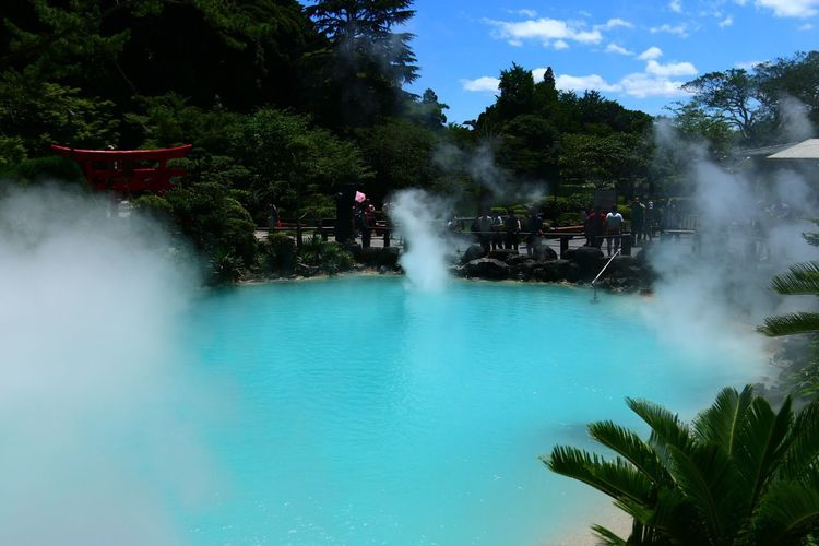 View Of Hot Spring Against Trees
