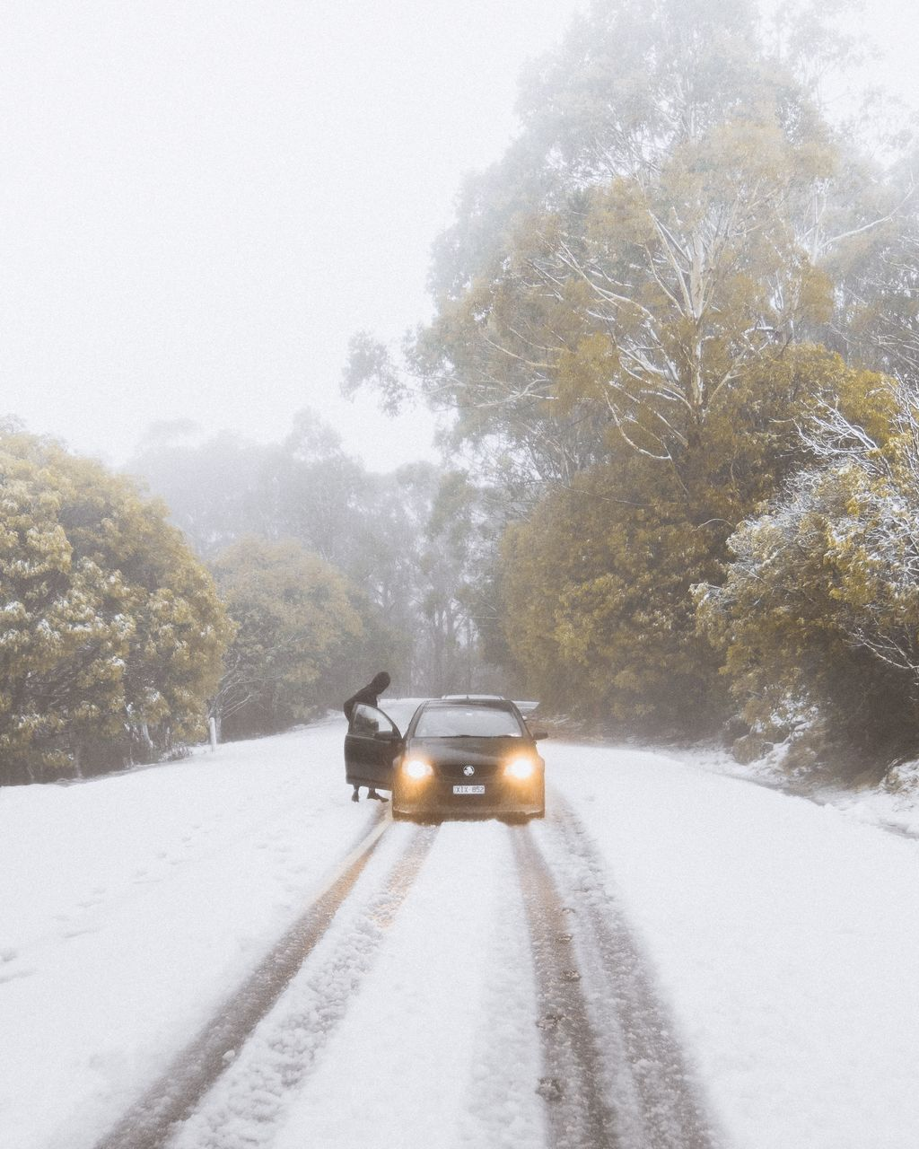 CAR ON ROAD IN WINTER