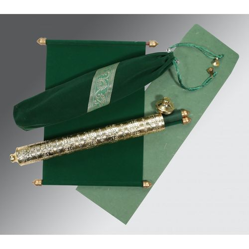 Green colored velvet cloth scroll invitation supported with plastic bars and golden caps., rolled and tied with golden tassel. Shop here https://www.123weddingcards.com/card-detail/SC-5005I For More Scroll invites : https://www.123weddingcards.com/scroll-wedding-cards-invitations Scroll Cards Scroll Wedding Cards Scroll Wedding Invitation Cards Scroll Wedding Invitations, Wedding Cards Wedding Invitations By 123WeddingCards Scroll Invitations Wedding Invitations