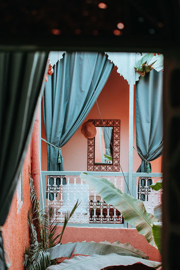 Moroccan Riad Indoors  Curtain Architecture No People Built Structure Day Furniture Railing Textile Staircase Window Absence Bed Empty Building Seat Hanging Lifestyles Home Interior Luxury Riad Moroccan Architecture Moroccan