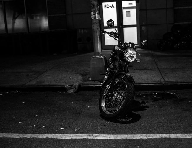 52-A Blackandwhite Photography Brooklyn Cinematic City Desolate From A Moving Vehicle Land Vehicle Mode Of Transport Motorcycle New York City Night Photography Nikon D750 No People Outdoors Parked Parking Parking Lot Photographyisthemuse Road Stationary Streetphoto_bw Transportation Triumph Motorcycle