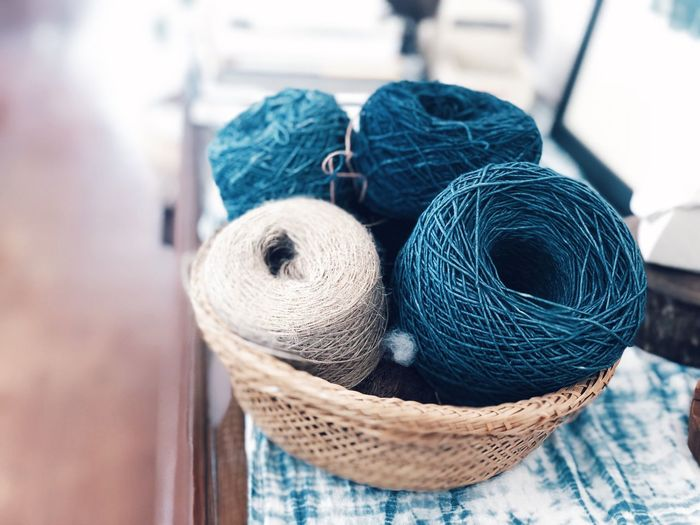 Craft Art And Craft No People Close-up Textile Creativity Still Life Basket Indoors  Ball Of Wool Blue Focus On Foreground Wool Wood - Material Representation Day Material Softness Table Container