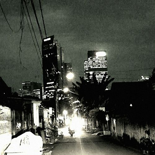 and all the lights that light the way are blinding Jakartaselamanya Monochrome Cityscape