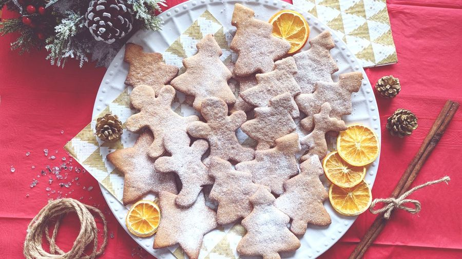 Christmas ginger cookies Christmas Decoration Christmas Time Ginger Gingerbread Gingerbread Cookie New Year Table High Angle View Indoors  No People Food And Drink Plate Tablecloth Ready-to-eat Close-up Food Freshness Directly Above Healthy Eating Textile
