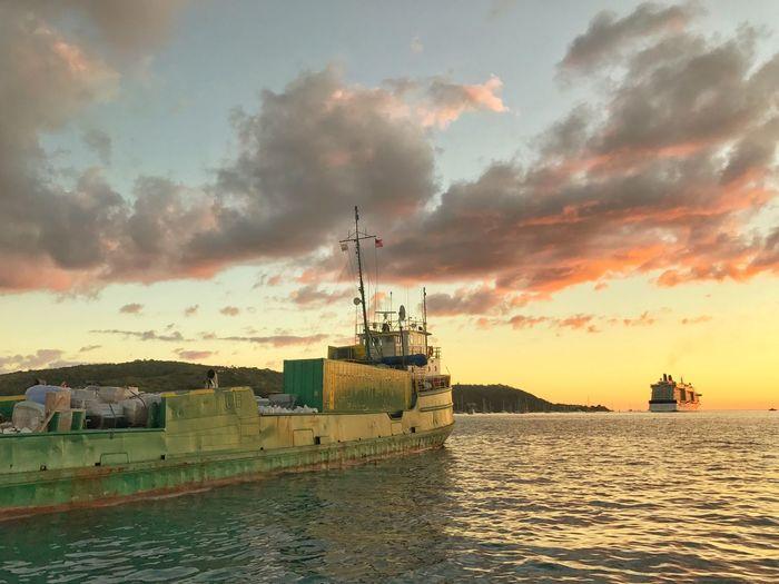 St. Thomas Sunset Sunset Sky Skyporn Back At Work  Clouds Cargo Ship Cruise Ship St Thomas Usvi