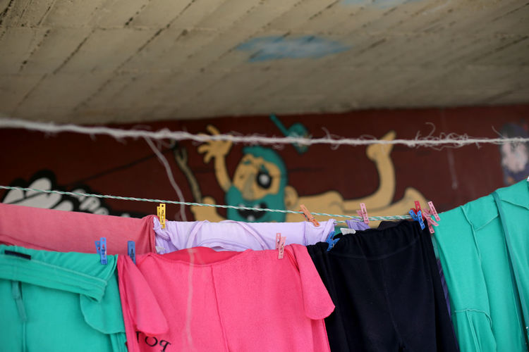 Low angle view of clothes drying on clothesline