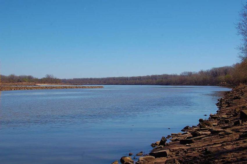 Arkansas River in Arkansas Arkansas River Blue Calm Day Sunny Water Outdoors No People Scenics Tranquil Scene Non Urban Scene Sun Beauty In Nature