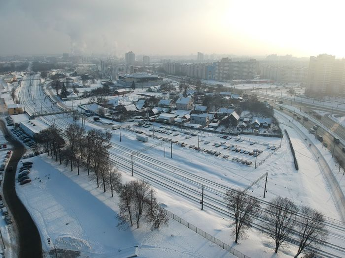 Transportation Architecture Built Structure City Winter Building Exterior Snow Cold Temperature Road Nature Mode Of Transportation High Angle View Cityscape Bridge Connection Bridge - Man Made Structure Sky No People Land Vehicle Outdoors Multiple Lane Highway