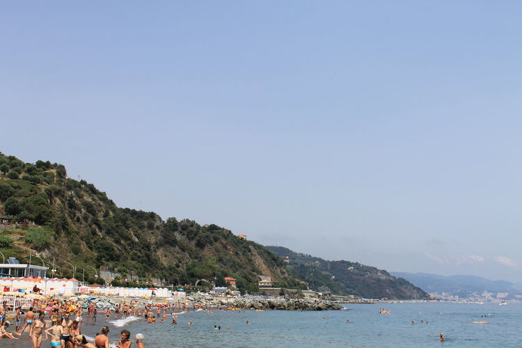 Beach Beauty In Nature Clear Sky Coastline Copy Space Day Italy Large Group Of People Liguria Nature Nautical Vessel Outdoors People Sand Scenics Sea Sky Summer Tourism Tranquil Scene Tranquility Travel Travel Destinations Vacations Water
