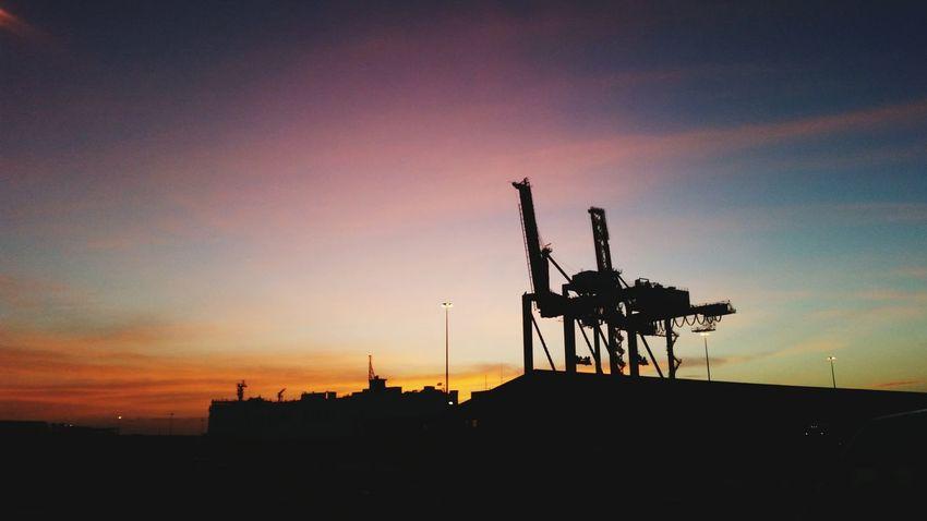 Dawn on the Docks Dawn Docks Sunrise Cranes