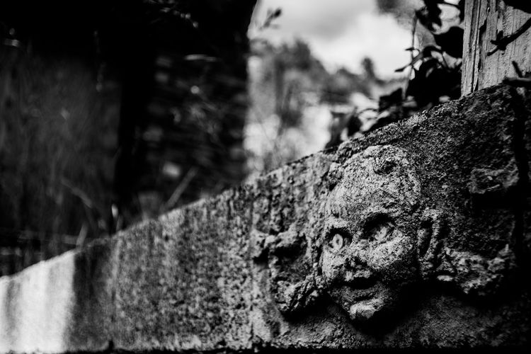 Abandoned Abandoned & Derelict Abandoned Buildings Abandoned Places Black And White Close-up Creepy Creepy Face Creepy House Focus On Foreground Heavy Black And White Selective Focus