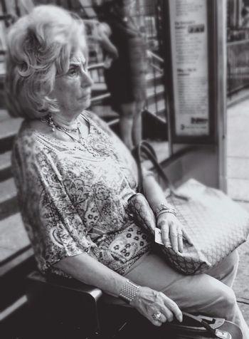 Waiting for a bus. Snap A Stranger Woman Portrait Gray Hair Older Woman Woman Sitting Alone Woman Portraiture Woman Face