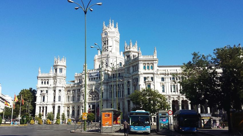 Tree Outdoors No People Architecture Travel Destinations Clear Sky Day Sky Politics And Government City Madrid Cibeles Palace Investing In Quality Of Life Your Ticket To Europe The Graphic City Modern Workplace Culture Stories From The City